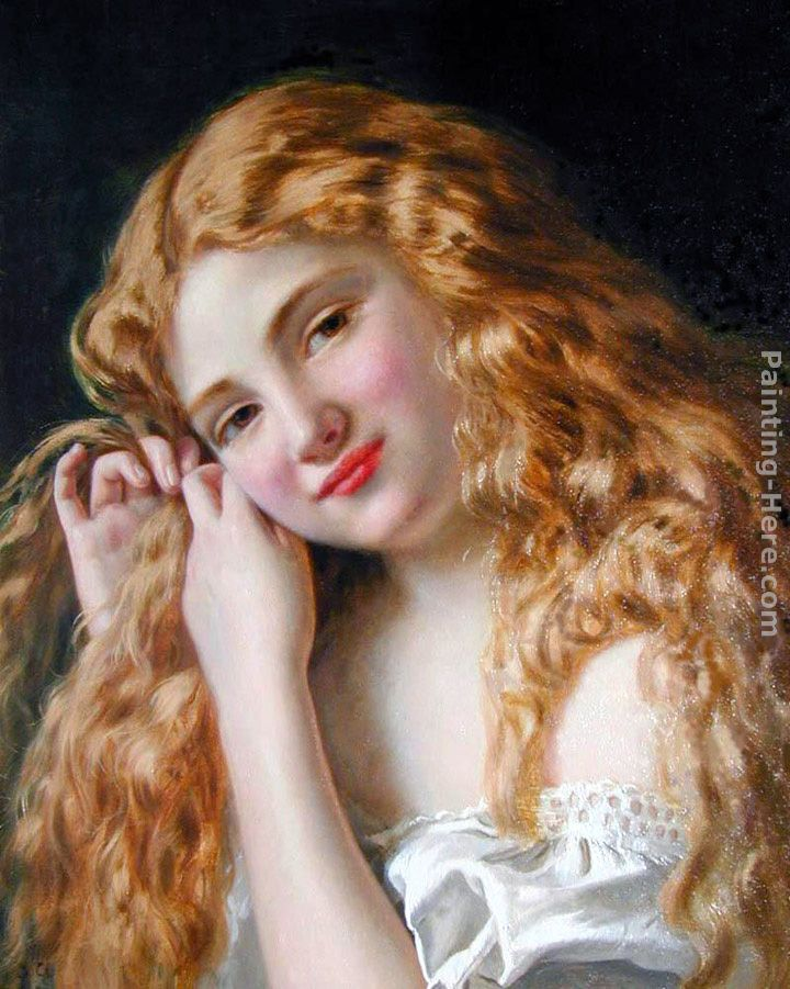 720x901 Sophie Gengembre Anderson Young Girl Fixing Her Hair Painting - Young Girl Painting