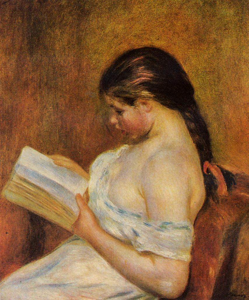 854x1030 Young Girl Reading 1891 1895 Painting Pierre Auguste Renoir Oil - Young Girl Painting