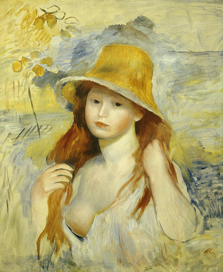 738x900 Young Girl With A Straw Hat Painting By Pierre Auguste Renoir - Young Girl Painting