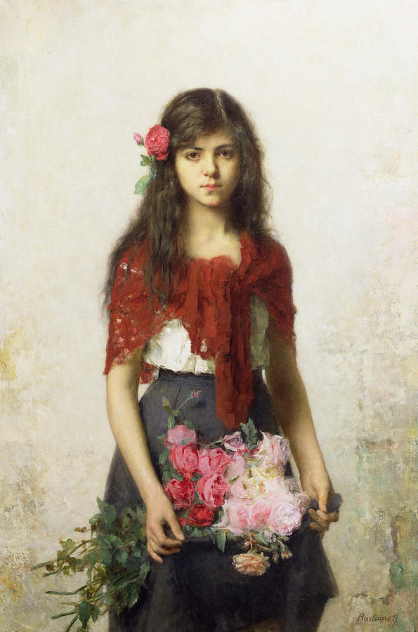 595x900 Young Girl With Blossoms Painting By Alexei Alexevich Harlamoff - Young Girl Painting