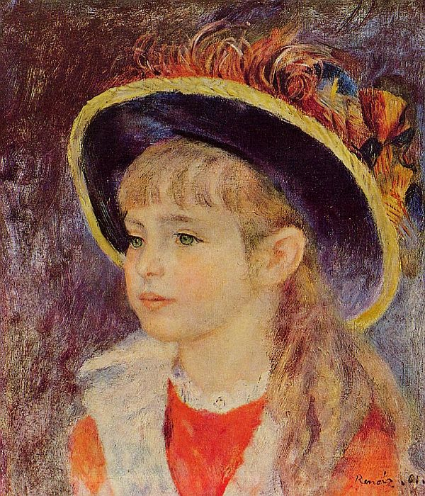 600x700 Young Girl In A Blue Hat - Young Girl Painting
