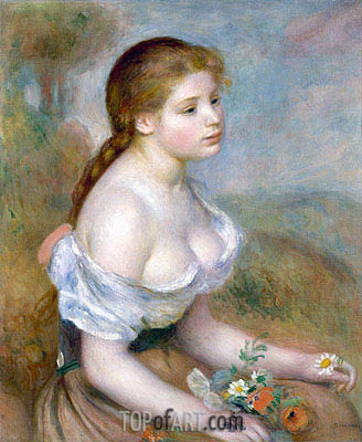 328x400 Young Girl With Daisies Renoir Painting Reproduction 1824 - Young Girl Painting