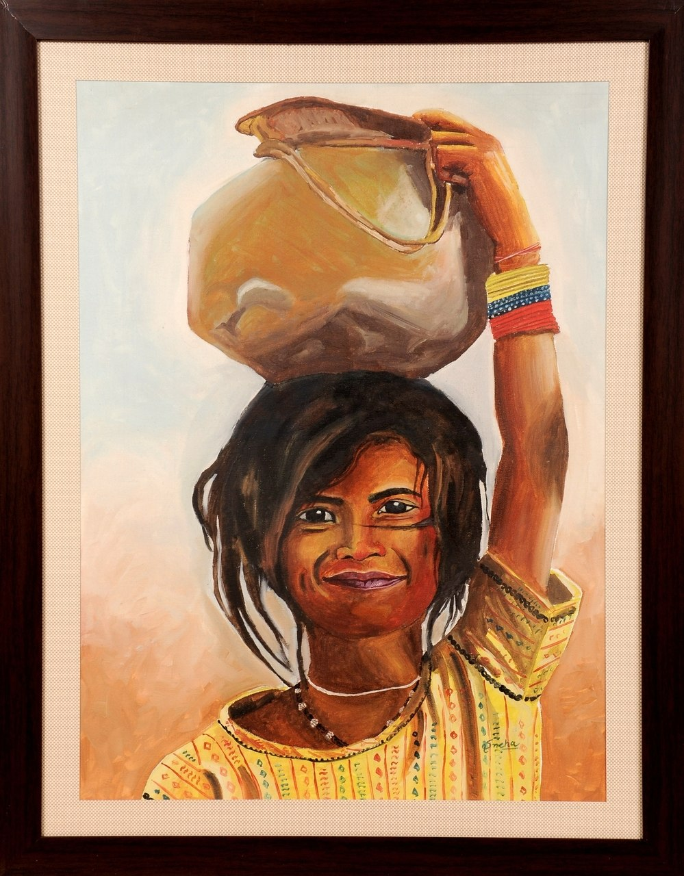 999x1280 Buy Young Girl With Matka Handmade Painting By Sneha Sneha. Code - Young Girl Painting