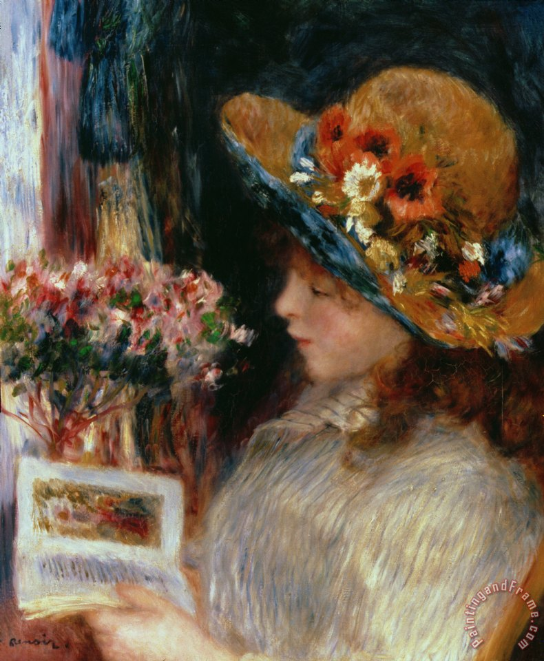 790x960 Pierre Auguste Renoir Young Girl Reading Painting - Young Girl Reading Painting