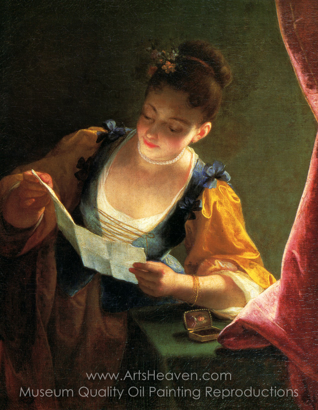637x820 Reproduction Painting Jean Raoux Young Girl Reading A Letter, Hand - Young Girl Reading Painting