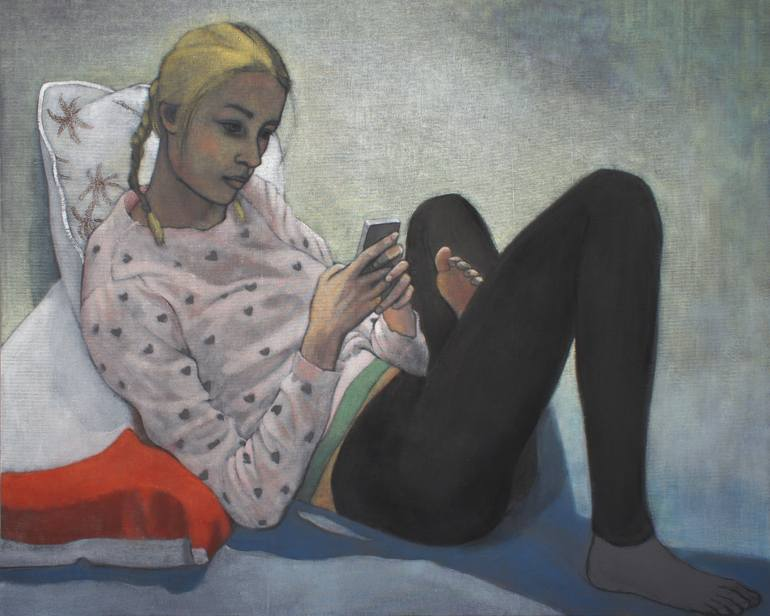770x616 Saatchi Art A Young Girl Reading Painting By June Sira - Young Girl Reading Painting