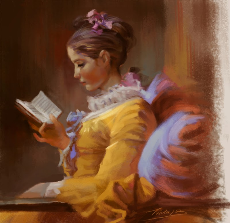 800x775 A Young Girl Reading , Master Painting Study Tida Sketchbook - Young Girl Reading Painting
