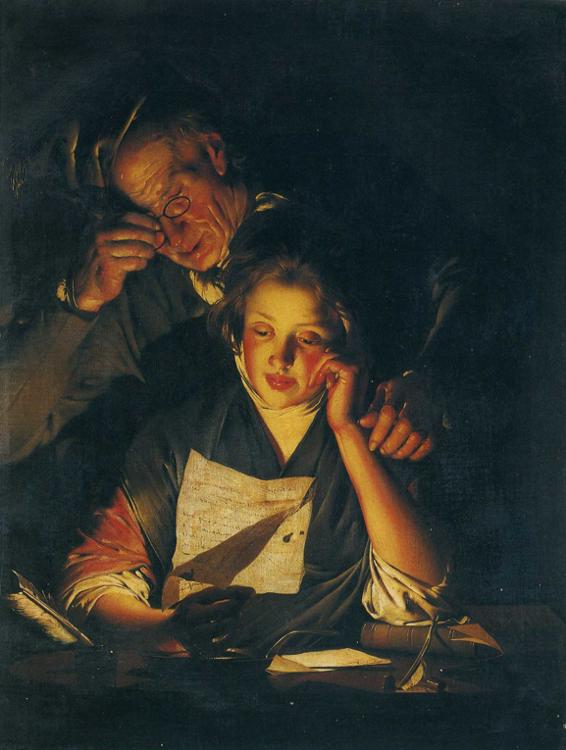 566x750 Filejoseph Wright Of Derby. A Young Girl Reading A Letter, - Young Girl Reading Painting