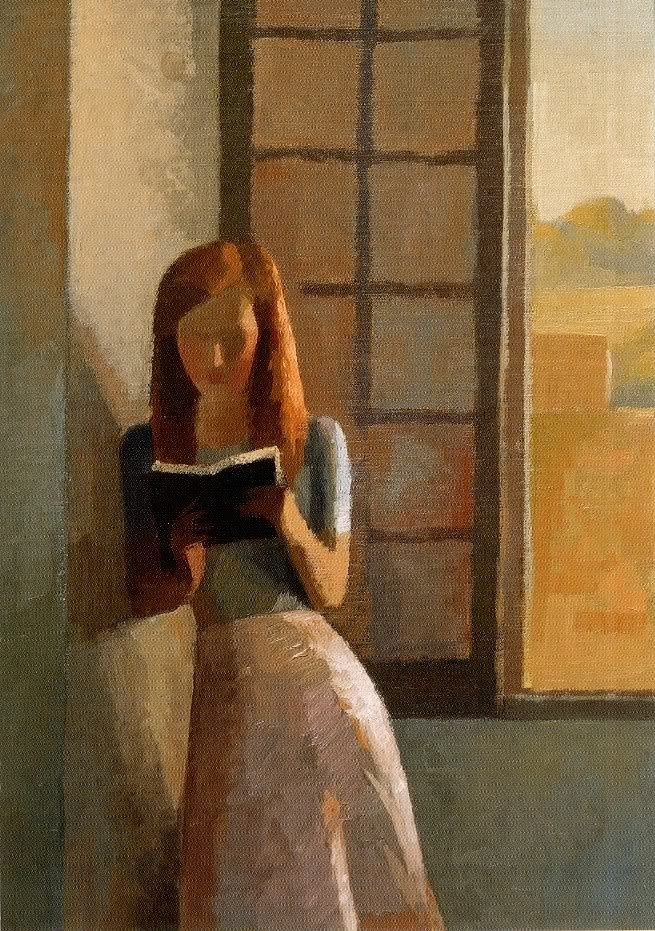 655x931 Gilles Sacksick, Young Girl Reading { Illustration } - Young Girl Reading Painting