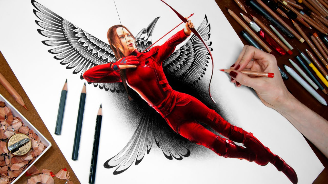 1280x720 Drawing Katniss - Mockingjay Sketch