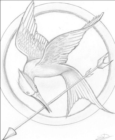 377x459 Mockingjay Pin Drawing Thg. Mockingjay Pin - Mockingjay Sketch