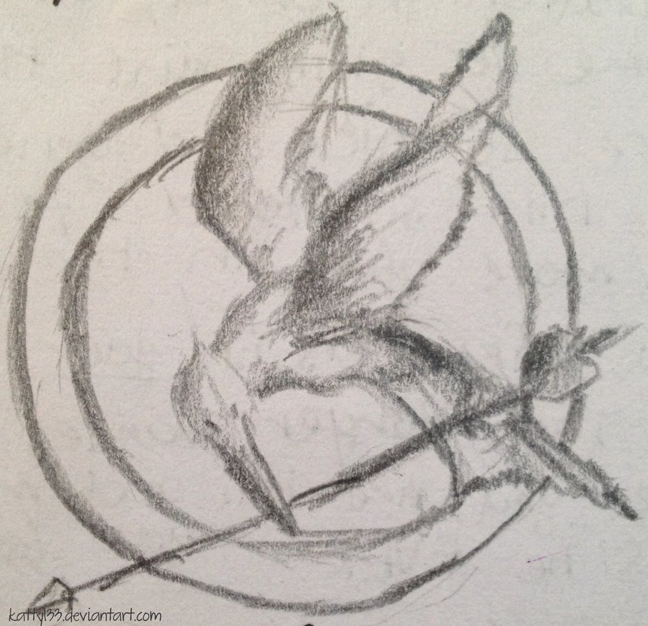909x878 Mockingjay Sketch By Katty133 - Mockingjay Sketch