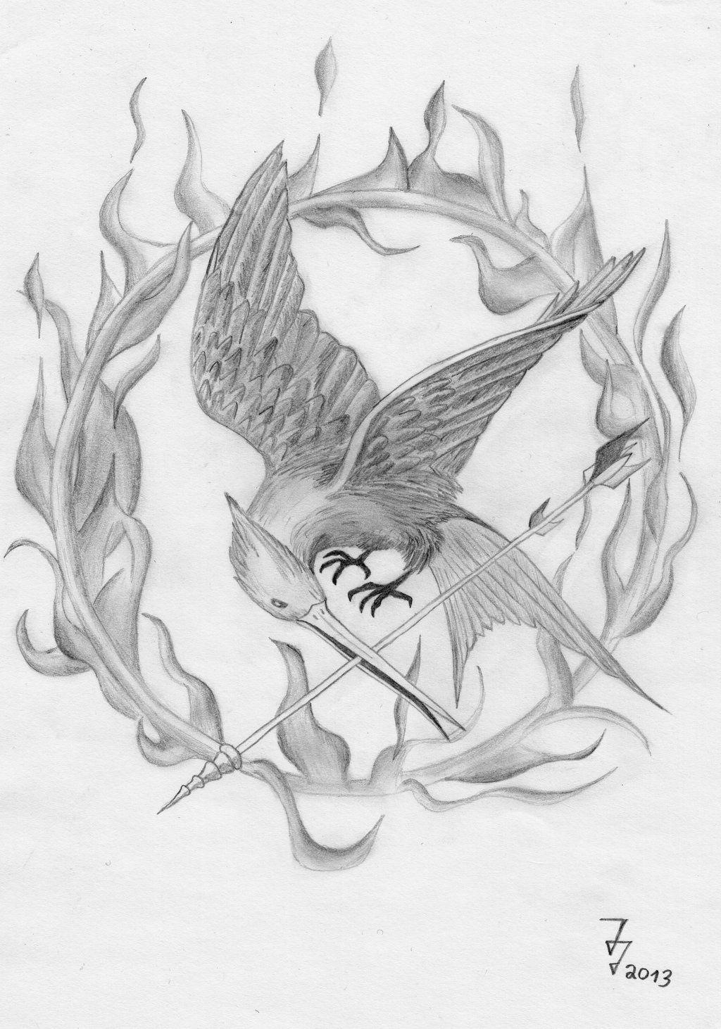 1024x1462 Mockingjay Drawing With Flames Art Hunger Games - Mockingjay Sketch