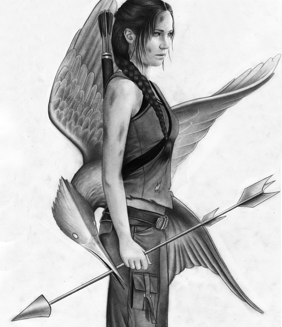 900x1044 Great Katnissmockingjay Sketch - Mockingjay Sketch