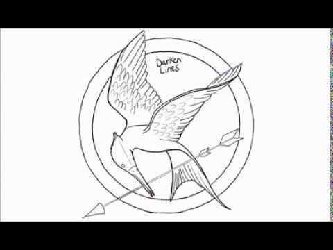 480x360 How To Draw A Hunger Games Logo Mockingjay Pin - Mockingjay Sketch