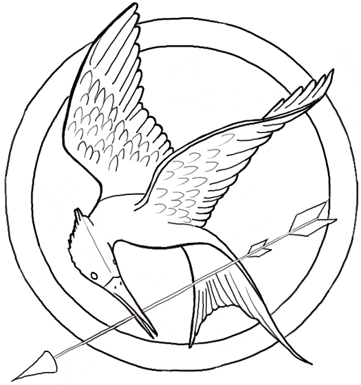 525x561 How To Draw The Hunger Games Logo Aka The Mockingjay Pin - Mockingjay Sketch
