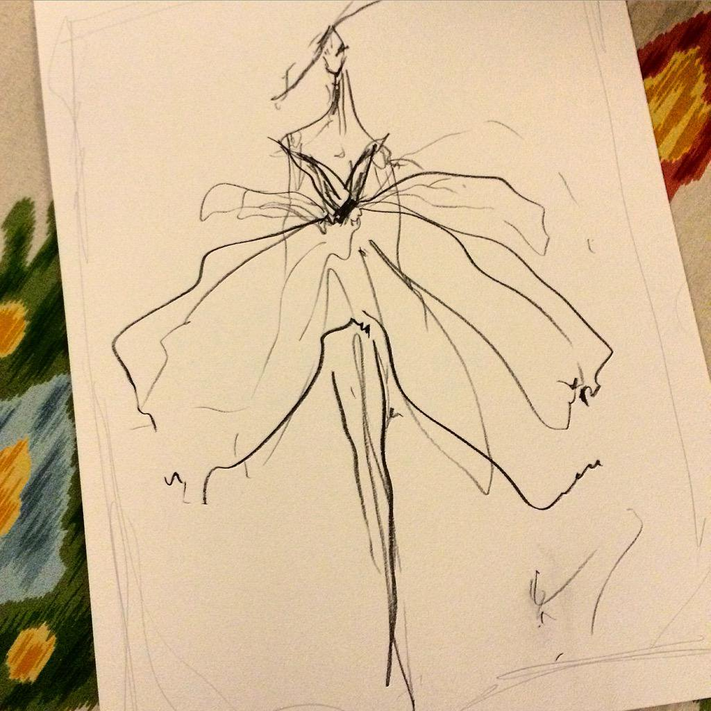 1024x1024 Sketch Of The Day Quick Pencil Sketch Of This Tulle Overlay Gown - Quick Sketch Online