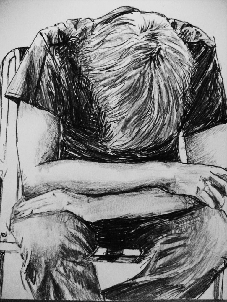 768x1024 A Sad Boy In Rain Pencil Art Risunok Drawings - Sad Boy Sketch