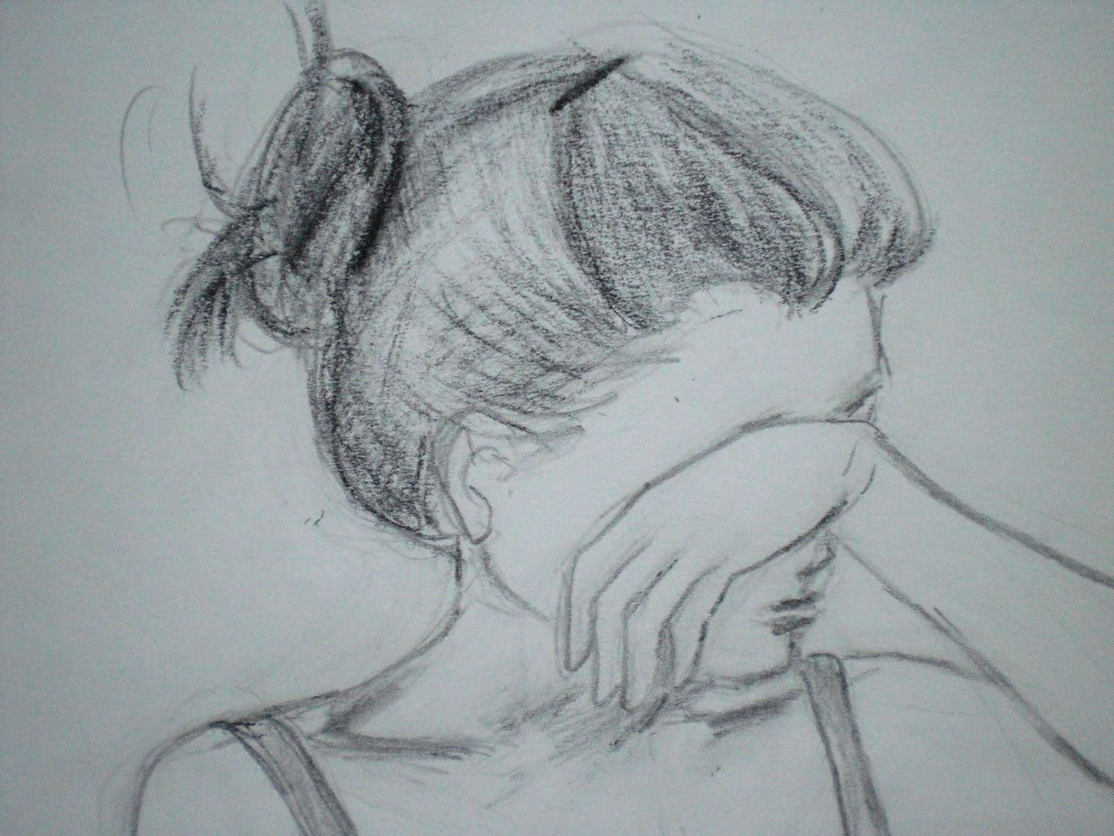 1600x1200 Drawn Sadness Depression - Sad Girl Sketch