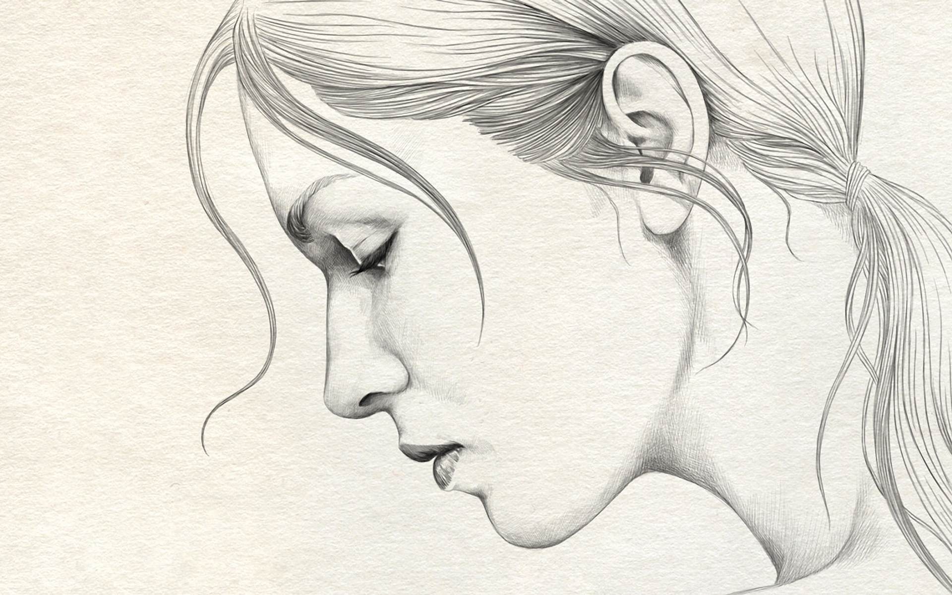 1920x1201 3d Pencil Drawing Wallpaper Girl Pencil Sketch 3d Pencil Sketch - Sad Girl Sketch