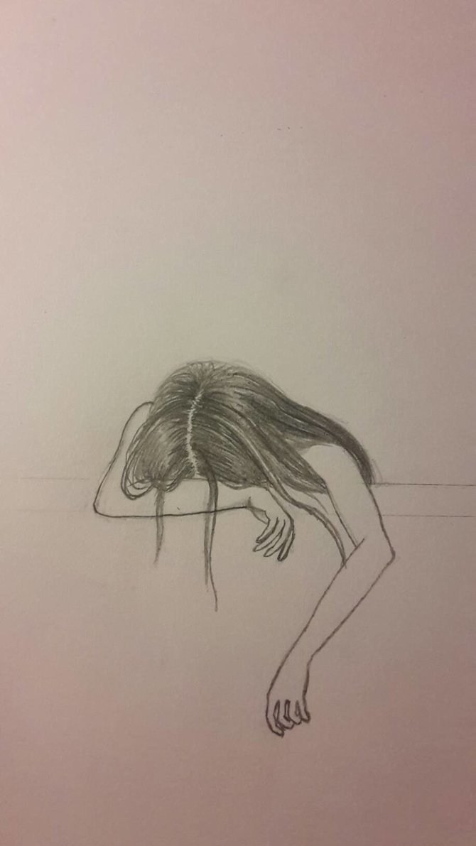 670x1191 Sad Girl Pictures Drawing - Sad Girl Sketch