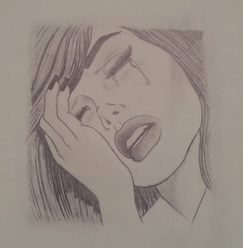 500x510 Depressed Girl Drawing, Pencil, Sketch, Colorful, Realistic Art - Sad Girl Sketch