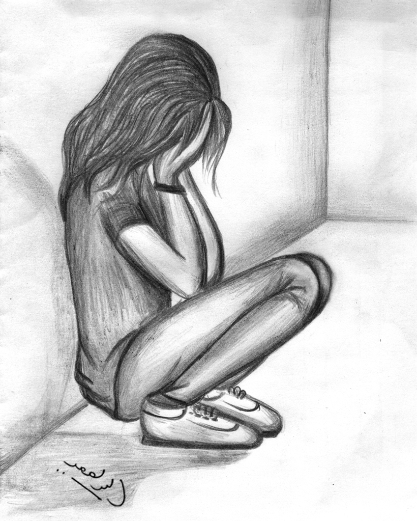820x1023 Drawing Sad Girl Sketch Girl Crying Alone Drawing Pencil Sketches - Sad Girl Sketch