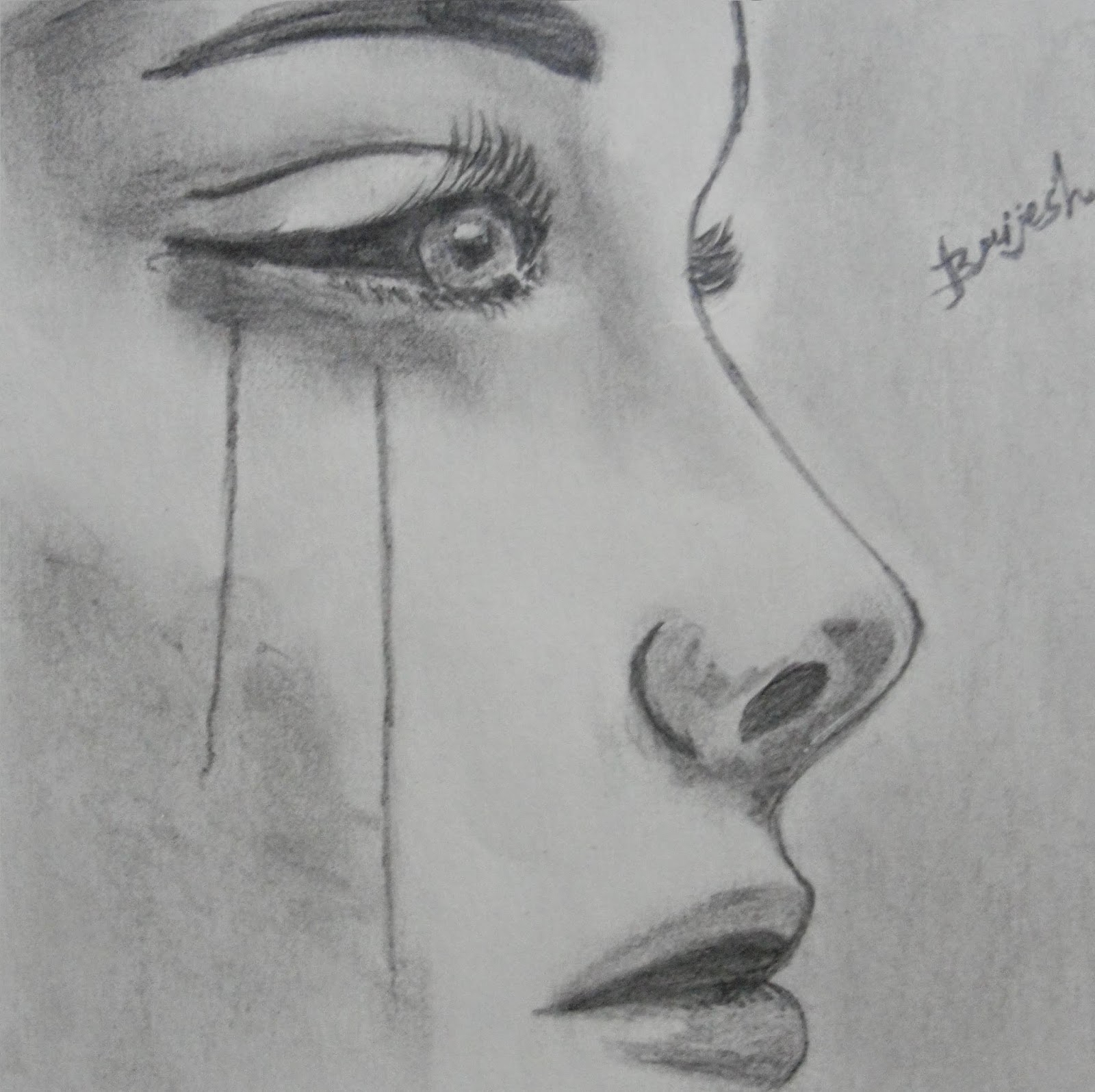 1600x1595 Drawing Sad Girl Sketch Sad Girl Sketch Pic Sad Girl Drawing - Sad Girl Sketch