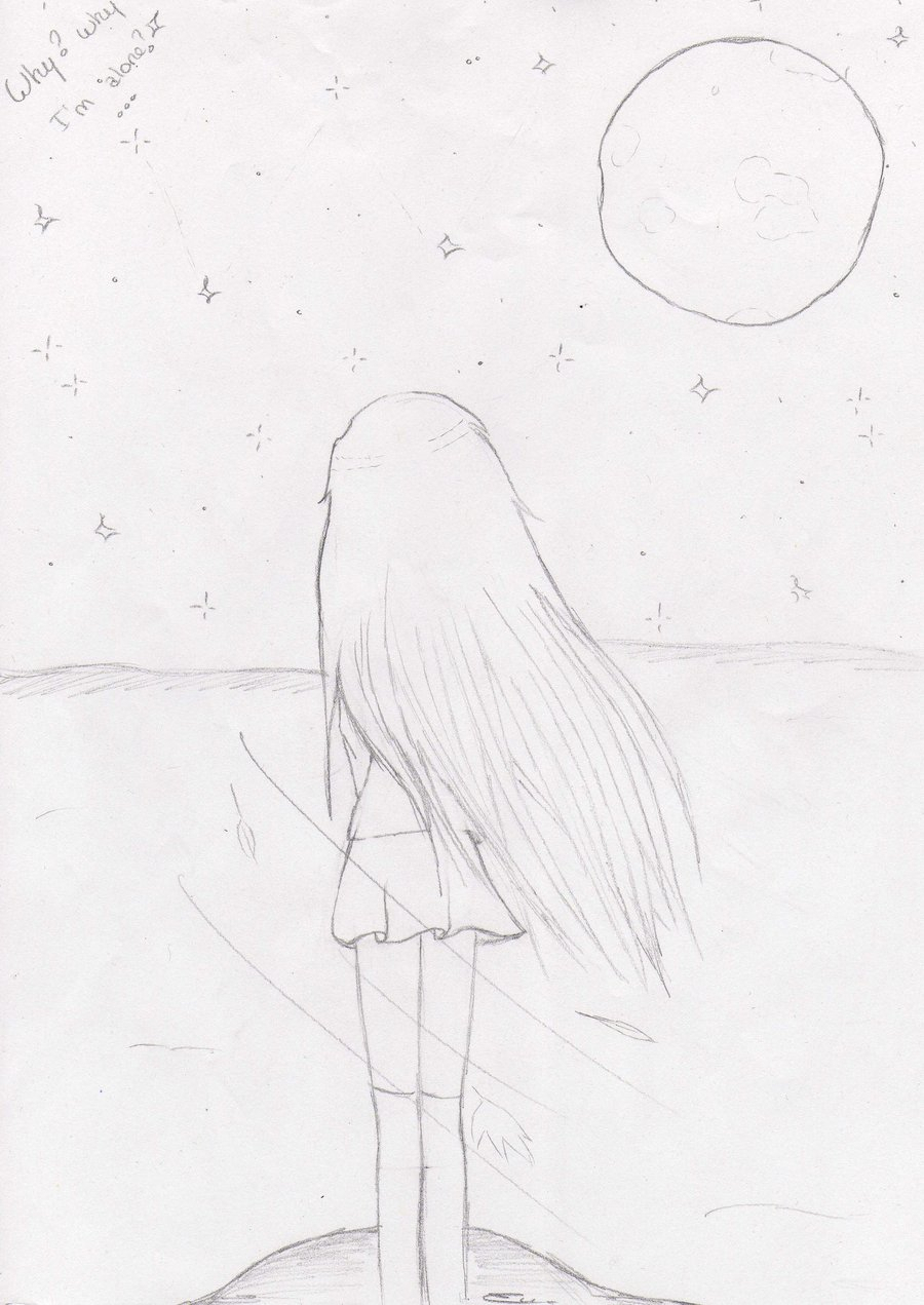 900x1271 alone pencil drawing pic sketch draw of alone girl alone pencil sketch drawing girl