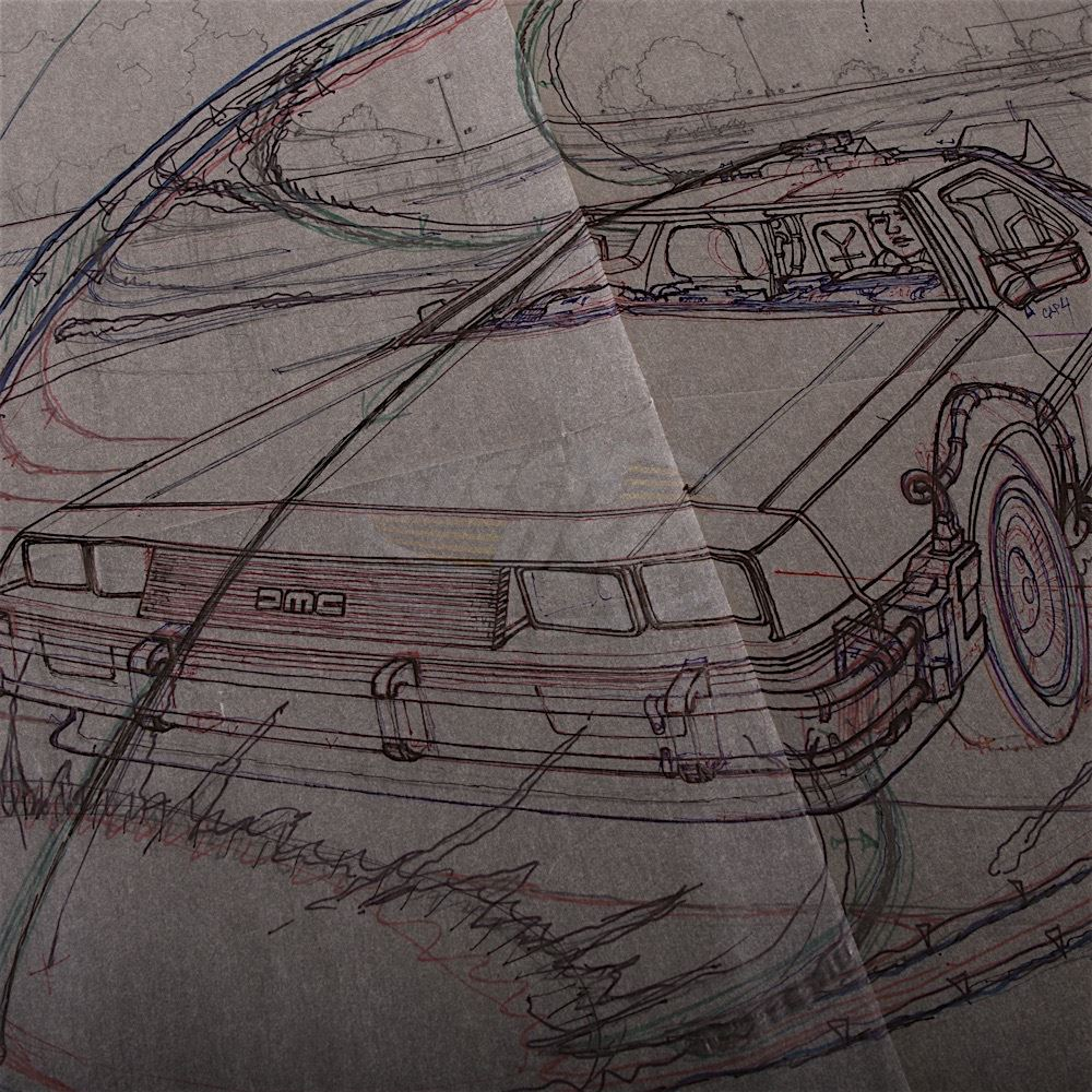 1000x1000 Back To The Future - Sketch Overlay