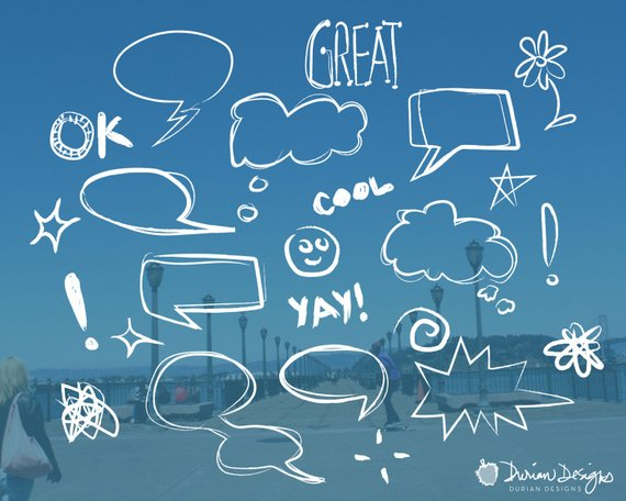 570x456 Chalk Word Bubbles Overlay Clipart Commercial Use Sketch Etsy - Word Sketch