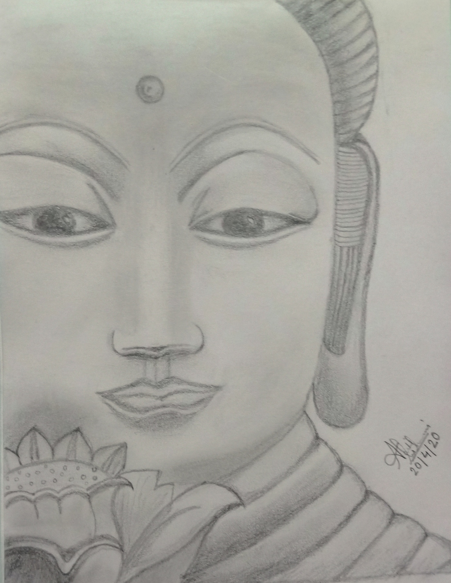 Simple pencil sketch of lord Buddha